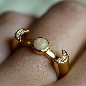 Pamela Love 18ky Gold, Opal & Diamond Luna Ring